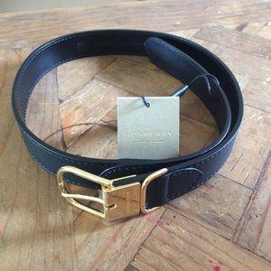 "NWT BURBERRY LONDON Black Calf Leather Belt 26"""